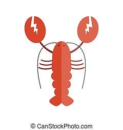 Lobster vector flat illustration. - Lobster vector flat...