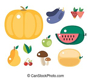 Set of colorful cartoon fruit and vegetables icons vector illustration.