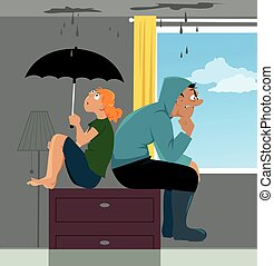 Leak on the roof - Couple sitting on a dresser in a flooded...