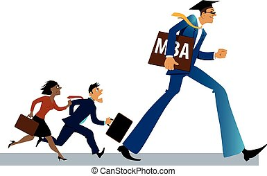 MBA advantages - MBA graduate walking ahead of a group of a...