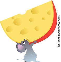Cartoon mouse holding a big piece of cheese, EPS 8 vector...