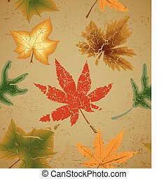 Autumn art leaf vintage seamless background - Autumn art...