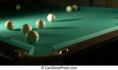 Russian billiards blow cue over the ball, unsuccessfully....