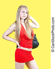 Sexy woman with purse - Sexy girl in red dress with purse