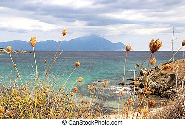 View of holy mount Athos, Chalkidiki - View of holy mount...