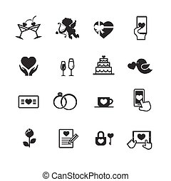 Set of valentine day for love and wedding card decoration icon vector illustration eps 10 003