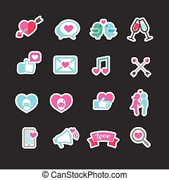 Set of valentine day for love and wedding card decoration icon in pastel color vector illustration eps 10