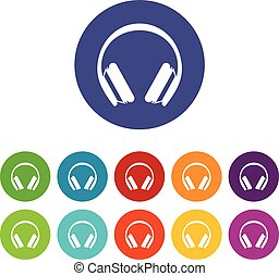 Protective headphones set icons in different colors isolated...
