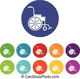 Wheelchair set icons in different colors isolated on white...