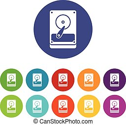 HDD set icons in different colors isolated on white...