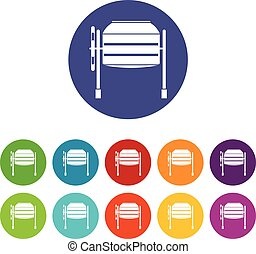 Concrete mixer set icons in different colors isolated on...