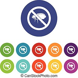 No flea sign set icons in different colors isolated on white...