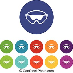 Safety glasses set icons in different colors isolated on...