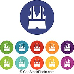 Vest set icons in different colors isolated on white...