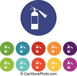 Fire extinguisher set icons in different colors isolated on...