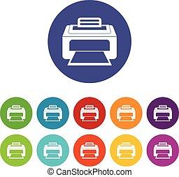 Modern laser printer set icons