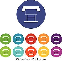 Large format inkjet printer set icons in different colors...