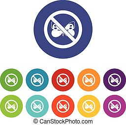 No butterfly sign set icons in different colors isolated on...