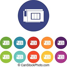 Inkjet printer cartridge set icons in different colors...