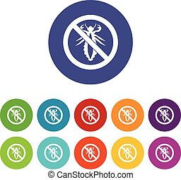 No louse sign set icons in different colors isolated on...