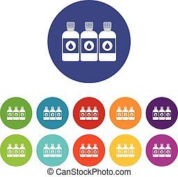 Printer ink bottles set icons in different colors isolated...