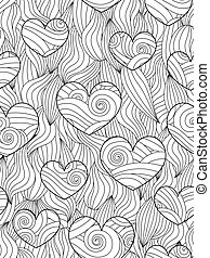 Seamless pattern with abstract waves and hearts. Zentangle...