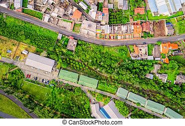 Aerial View Over Banos, Ecuador