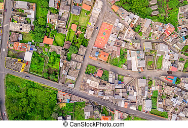 Aerial View With Streets In Banos, Ecuador