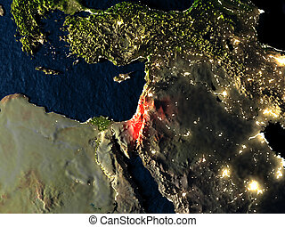 Israel in red from space at night - Israel in red at night...