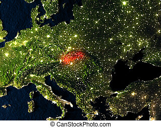 Slovakia in red from space at night - Slovakia in red at...