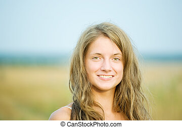 long-haired girl - portrait of long-haired girl outdoor in...