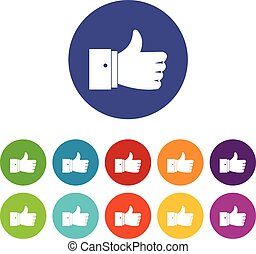 Thumb up gesture set icons in different colors isolated on...