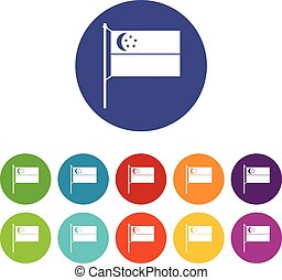 Flag of Singapore set icons