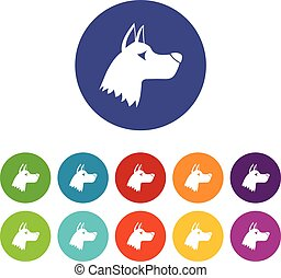 Doberman dog set icons in different colors isolated on white...