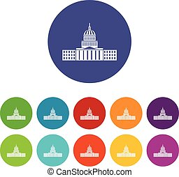 Capitol set icons in different colors isolated on white...