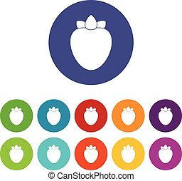Ripe persimmon set icons in different colors isolated on...