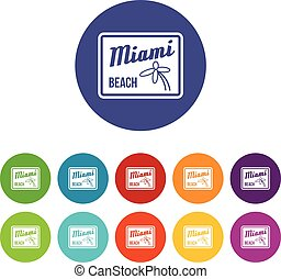 Miami beach set icons in different colors isolated on white...