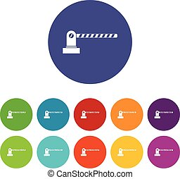Parking barrier set icons in different colors isolated on...