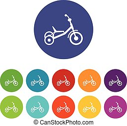 Tricycle set icons in different colors isolated on white...