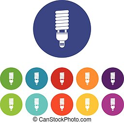 Fluorescent bulb set icons in different colors isolated on...