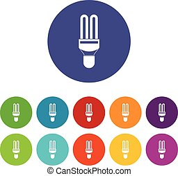 Fluorescence lamp set icons in different colors isolated on...