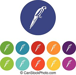 Parrot set icons in different colors isolated on white...
