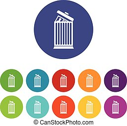 Resume thrown away in the trash can set icons in different...