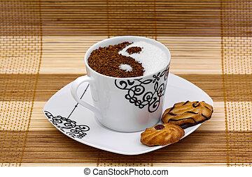 Yin Yang coffee with cookies