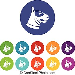 Bull terrier dog set icons in different colors isolated on...
