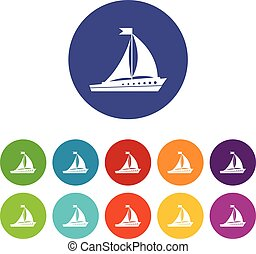 Sailing ship set icons in different colors isolated on white...