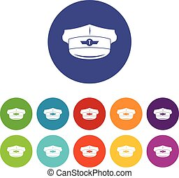 Cap taxi driver set icons in different colors isolated on...