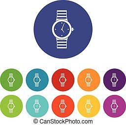 Watch set icons in different colors isolated on white...