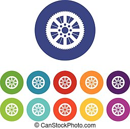 Sprocket from bike set icons in different colors isolated on...