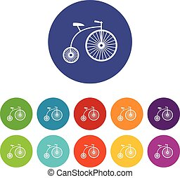 Penny-farthing set icons in different colors isolated on...